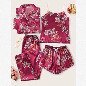 4 Piece Floral Print Satin PJ Set